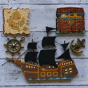 Pack of 5pc Wooden Pirate ship, treasure chest, map & metal ships wheel & anchor