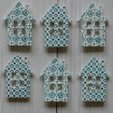 Pack of 6 wooden House shapes blue & white, 2 different patterns, 3 of each, as shown