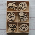 Box of 24 Easter Egg & Rabbit fretwork shapes (4 each of 6 designs)