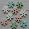 Pack of 10 daisy flower wooden card topper craft shapes, green, white, pink, turquoise