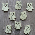 Pack of 8 Natural wood Owl shapes card topper 4 each of 2 designs, as shown