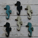 Pack of 6 wooden Seahorse card topper shapes white, blue, navy, weathered appearance on one side, smooth on the other