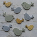 Pack of 9 wooden bird shape card topper in 3 sizes , blue, blue/grey & natural