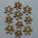 Pack of 10 Natural wood flower shape card topper decorations, 5 large 5 small, as shown