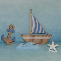 Pack of  4  Wooden Nautical shapes, boat, Achor, Wave, starfish