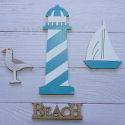 Pack of 4 nautical shapes, lighthouse,seagull,boat & beach sign, as shown