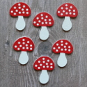 Pack of 6 wooden toadstool card topper shapes, as shown
