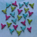 Pack of 24 mini Humming Bird card topper shapes, tropical pink, blue & green