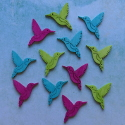 Pack of 12 large Humming Bird card topper decorations, tropical pink, blue & green