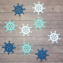 Set of 9 wooden ships wheel embellishments 3 of each colour, as shown