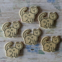 Pack of 6 natural wooden Cat shapes with black outline to colour