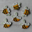 Pack of 6 Wooden card topper craft Bee shapes, 3 each of 2 styles as shown
