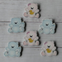 Pack of 6 wooden Teddy Bear card topper craft shapes 3 pink, 3 blue with a little glitter, as shown