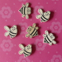 Pack of 6 Natural wood Bee shape card topper Embellishments 3 each of 2 designs, as shown