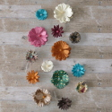Pack of 14pc assorted size and shape Paper Flower Card topper Embellishments, as shown