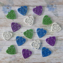 16pc Wooden Filigree Heart Card topper Embellishments, as shown