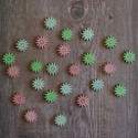 24pc Wooden Mini Flower Shapes card topper Embellishments, as shown