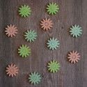 12pc Wooden Flower shapes Card Topper Embellishments, as shown
