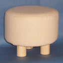 Small 3 Legged Round footstall, wooden legs and padded seat with removable cover