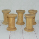 Set of 5 Wooden Spool, dark stained