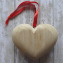 Wooden 3d heart with ribbon large