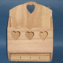 Rack with Heart shaped detail, Hooks for Hanging, and 3 hooks