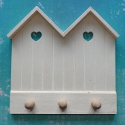 Beach Hut Shape Peg Rack with hooks for hanging