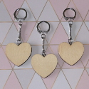 Set of 3 Plywood Heart Keyrings