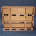12 pigeon hole Compartment storage box with metal label frames