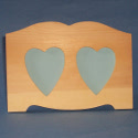 Pine Photo Frame with 2 hearts, to stand, no glass