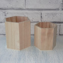 Set of 2 wooden Hexagonal pots