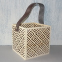 Plywood square planter with laser cut design and strap to hang
