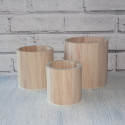 Set of 3 Round Wooden Pots