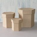 Set of 3 Papier Mache Tall Hexagonal Boxes