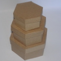 Set of 3 Papier Mache Nesting Hexagonal boxes