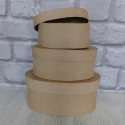 Set of 3 different sizes of Papier Mache Round Box
