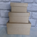 Set of 3 Papier Mache Square Boxes