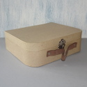 Papier Mache Suitcase with clasp & Leather Handle large