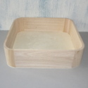Square Tray with Rounded Corners, as shown. Wood with ply base