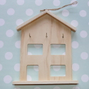 House Shaped Key Rack with 3 hooks & String hanger