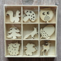 Box of 27 Woodland  Shapes ( 3 each of 9 designs) as shown