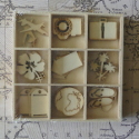 Box of 27 mini wooden shapes Holiday / Travel, 3 each of 9 designs
