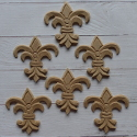 Set of 6 MDF Fleur de Lis shapes