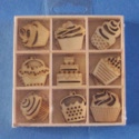 Box of 27 Cupcake Shapes ( 3 each of 9 designs) as shown