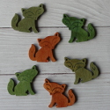 Pack of 6 Wooden Fox embellishments, green, Olive & brown, as shown
