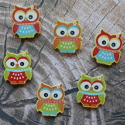 Pack of 6 Wooden Owl embellishments, bright colours, as shown