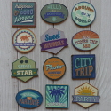 Pack of 12 Wooden Embellishments Sweet Memories, Vintage look  Summer Holidays