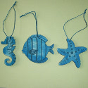 Set of 3 Wooden hanging decorations, seahorse, starfish & Fish, as shown