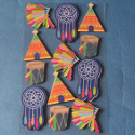 Pack of 12 Wooden Embellishments Native American Indian