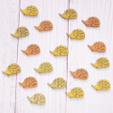 Pack of 18 Wooden Hedgehog shapes, small, colours as shown